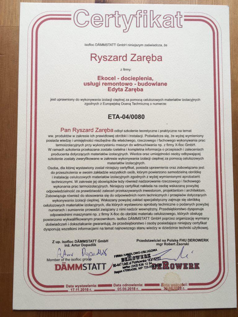 ekocel - certyfikat potwierdz uprawnienia do izolacji cieplnej za pomocą materiałów izolacyjnych
